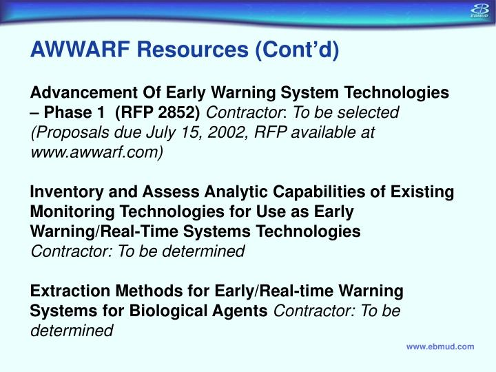 AWWARF Resources (Cont'd)