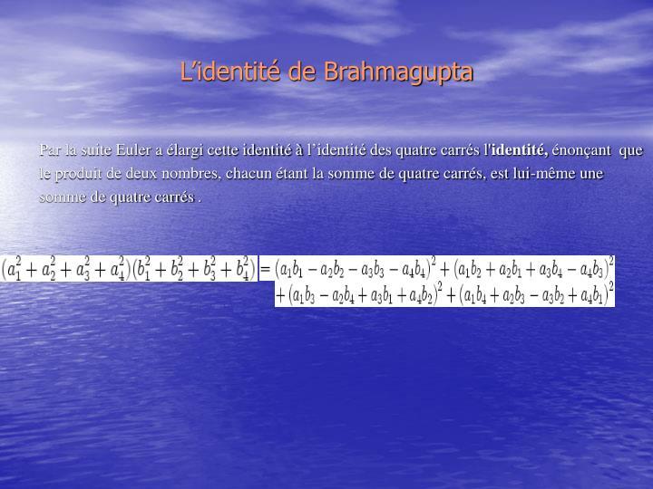 L'identité de Brahmagupta