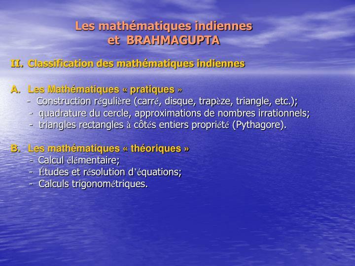 Les mathématiques indiennes