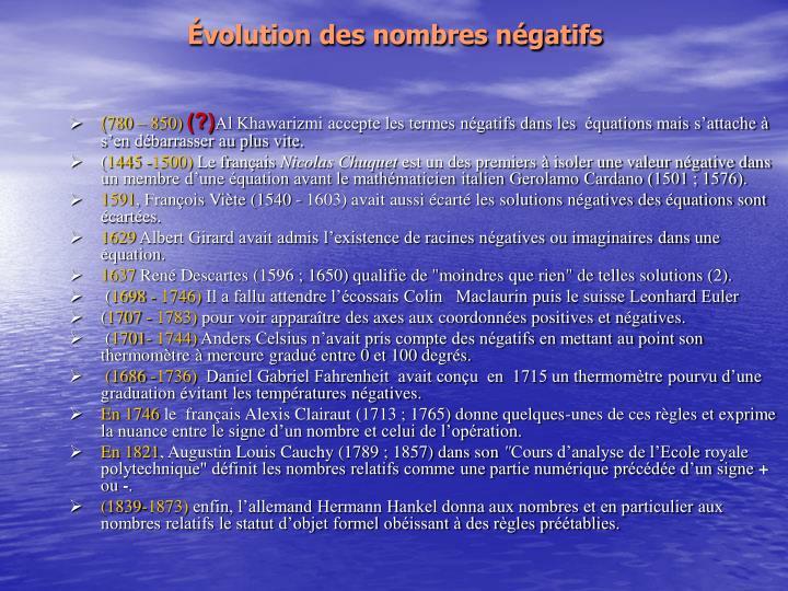 Évolution des nombres négatifs
