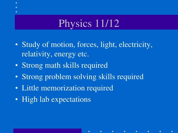Physics 11/12