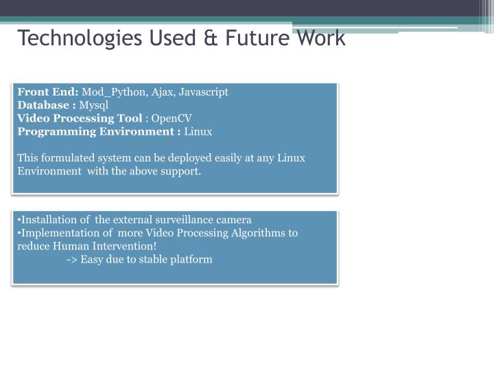 Technologies Used & Future Work