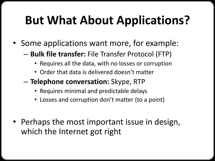 But What About Applications?