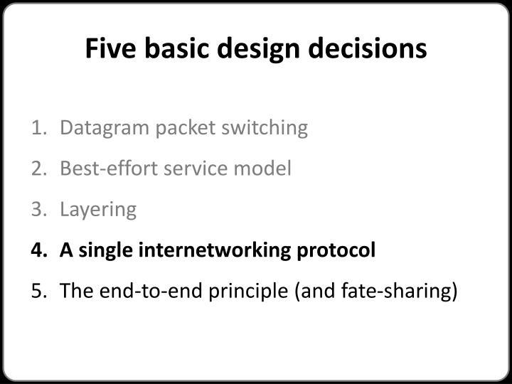 Five basic design decisions