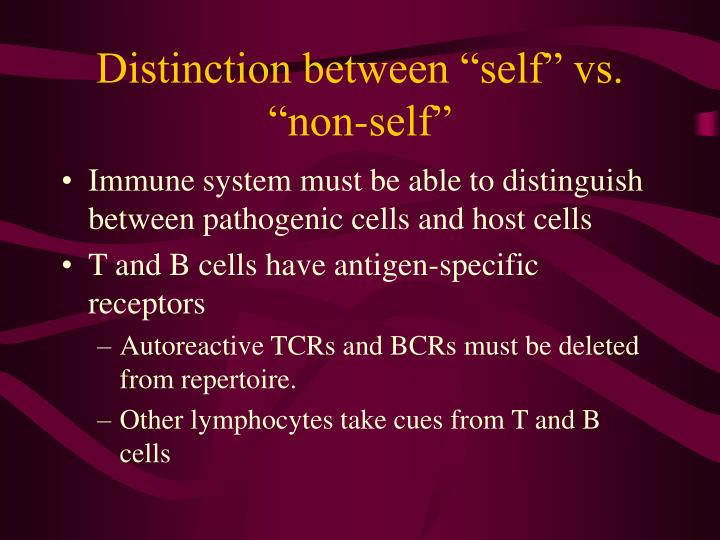 "Distinction between ""self"" vs. ""non-self"""