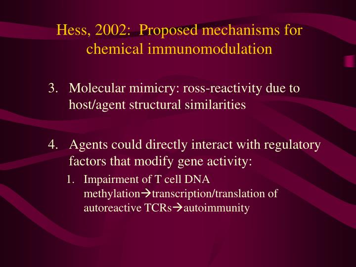 Hess, 2002:  Proposed mechanisms for chemical immunomodulation