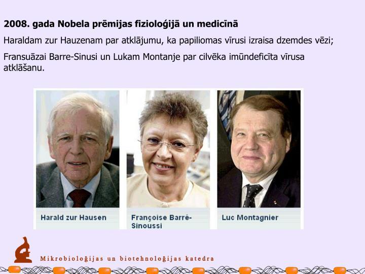 2008. gada Nobela prēmijas fizioloģijā un medicīnā