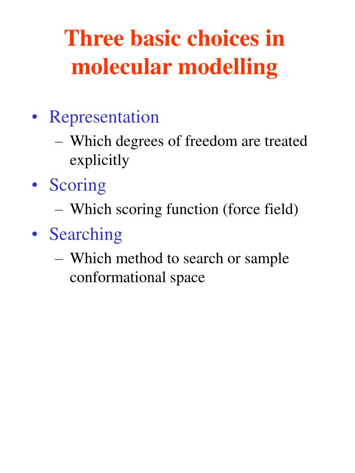 Three basic choices in molecular modelling
