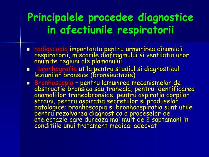Principalele procedee diagnostice in afectiunile respiratorii