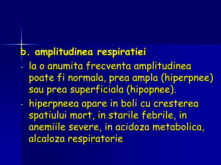 b. amplitudinea respiratiei