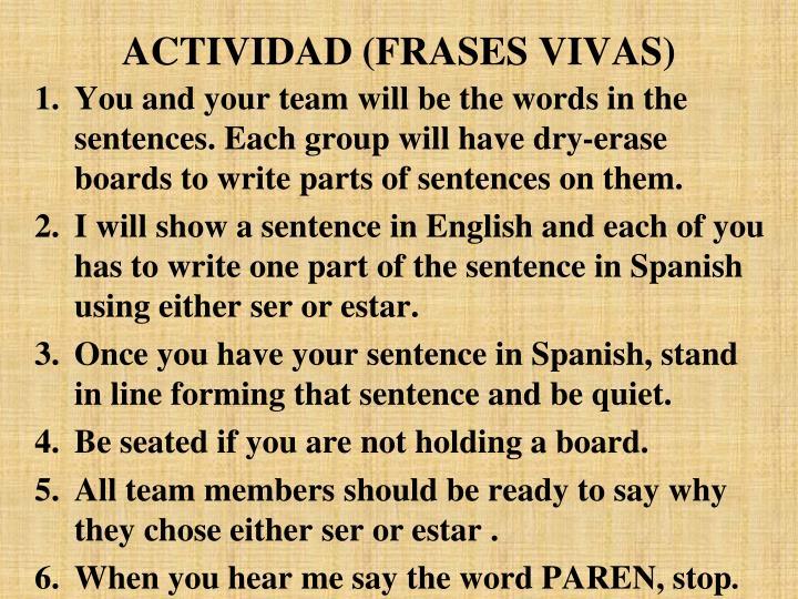 ACTIVIDAD (FRASES VIVAS)