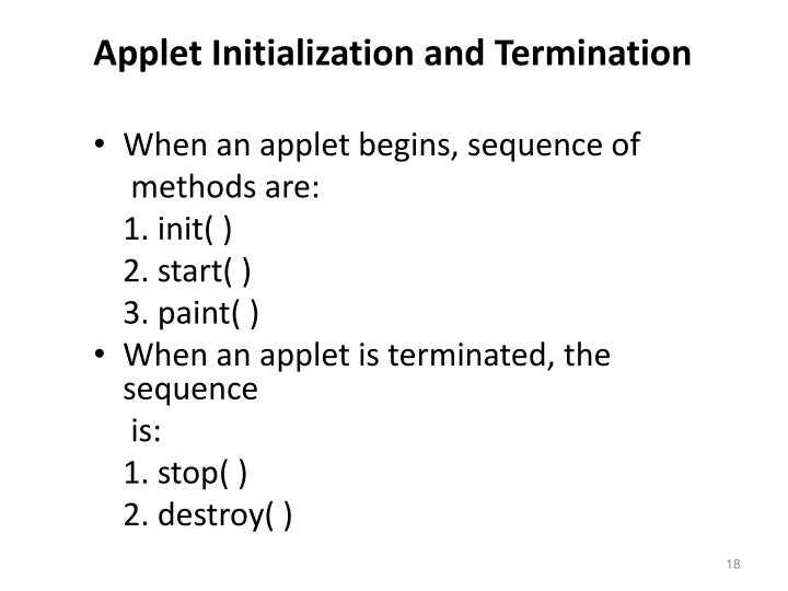 Applet Initialization and Termination