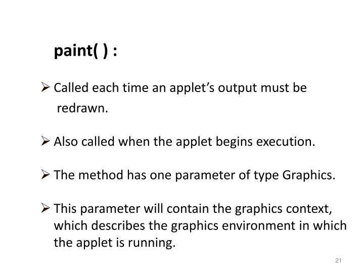 paint( ) :