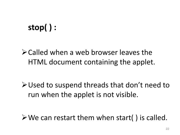 stop( ) :