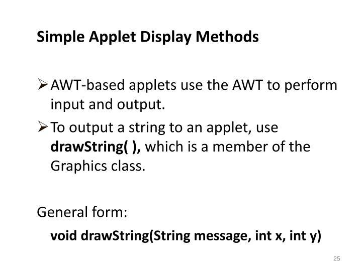 Simple Applet Display Methods