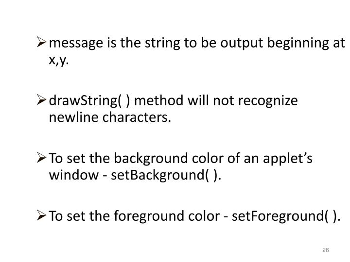message is the string to be output beginning at x,y.