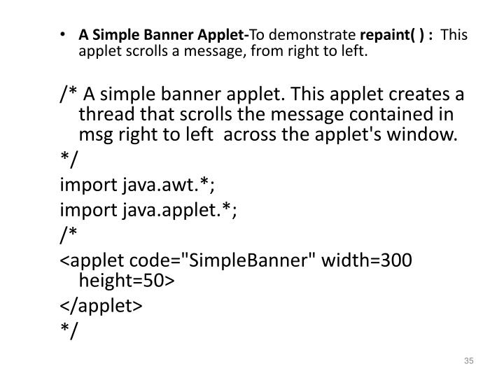 A Simple Banner Applet-