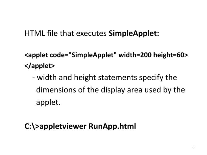 HTML file that executes