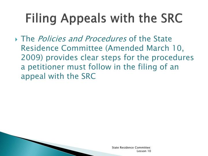 Filing Appeals with the SRC