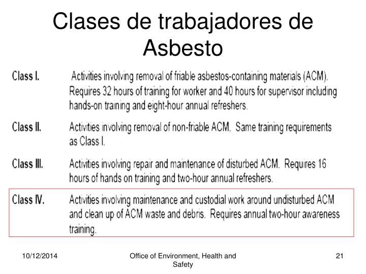 Clases de trabajadores de Asbesto