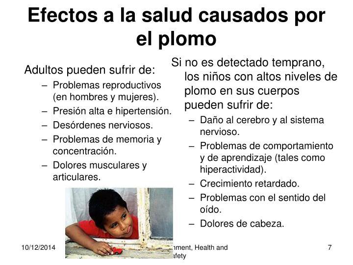 Efectos a la salud causados por