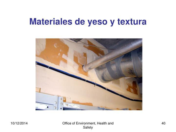 Materiales de yeso y textura