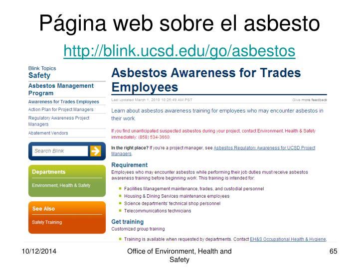 Página web sobre el asbesto