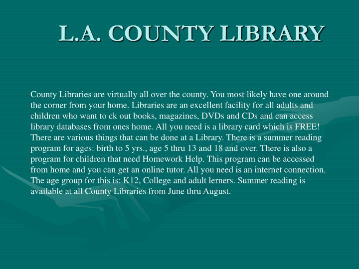 L.A. COUNTY LIBRARY