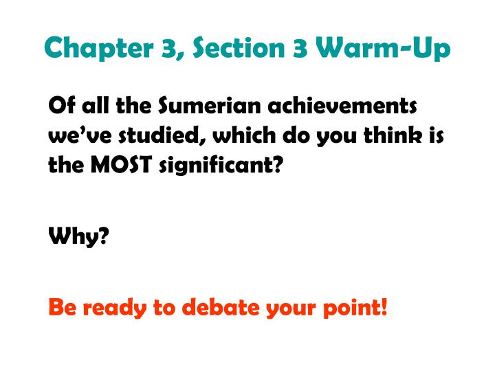 Chapter 3 section 3 warm up