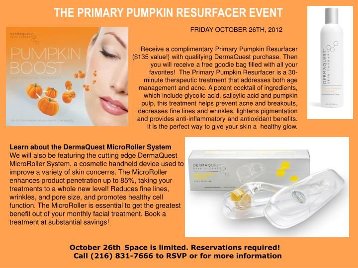 THE PRIMARY PUMPKIN RESURFACER EVENT
