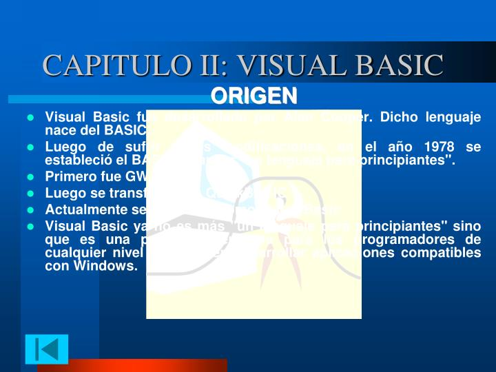 CAPITULO II: VISUAL BASIC