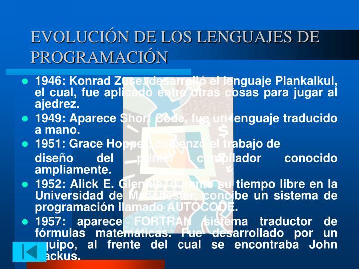 EVOLUCIÓN DE LOS LENGUAJES DE PROGRAMACIÓN
