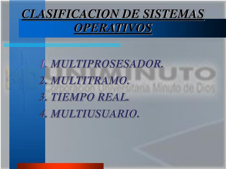 CLASIFICACION DE SISTEMAS OPERATIVOS
