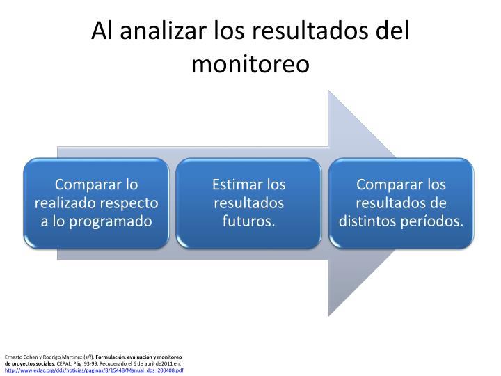 Al analizar los resultados del monitoreo
