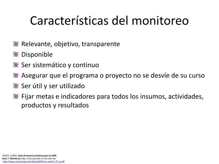 Características del monitoreo