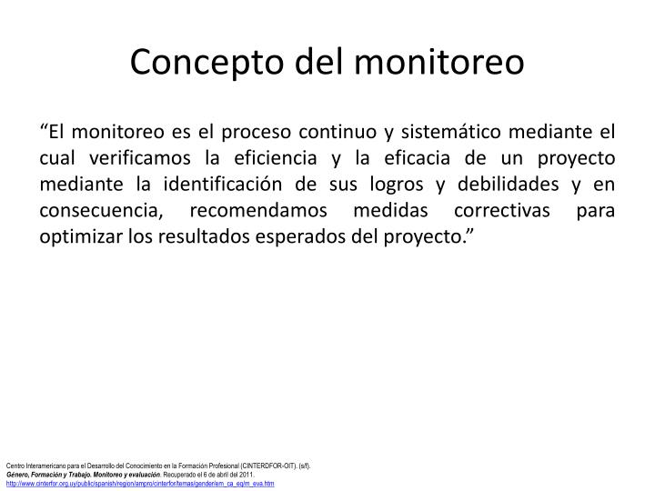 Concepto del monitoreo