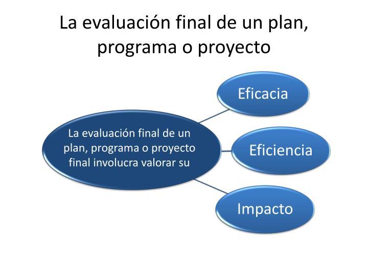 La evaluación final de un plan, programa o proyecto