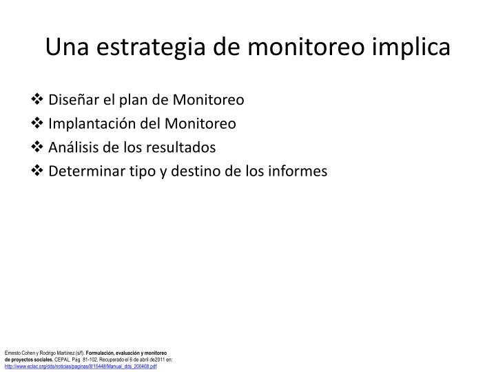 Una estrategia de monitoreo implica