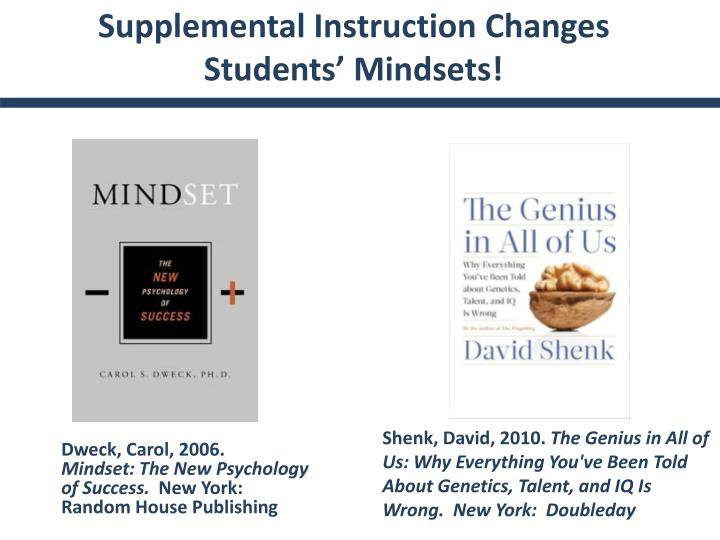 Supplemental Instruction Changes Students' Mindsets!