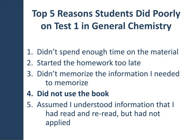 Top 5 Reasons Students Did Poorly on Test 1 in General Chemistry