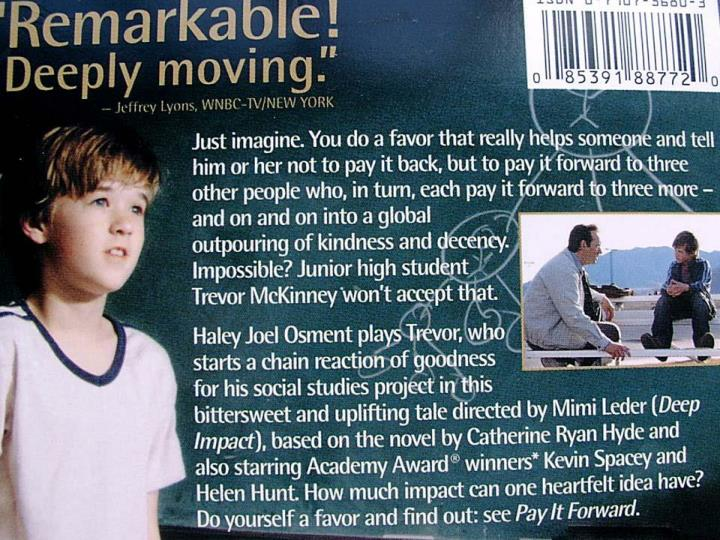 Pay It Forward DVD cover
