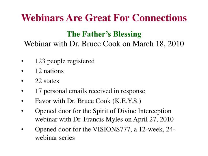 Webinars Are Great For Connections