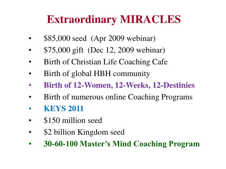 Extraordinary MIRACLES
