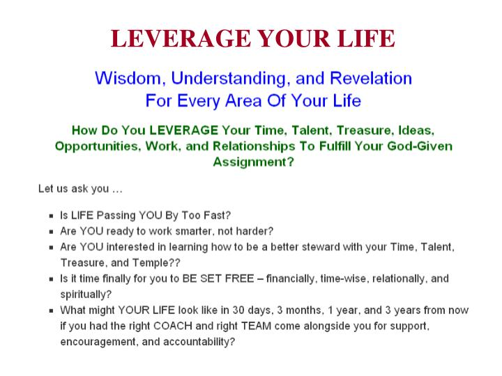 LEVERAGE YOUR LIFE