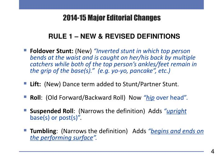 2014-15 Major Editorial Changes