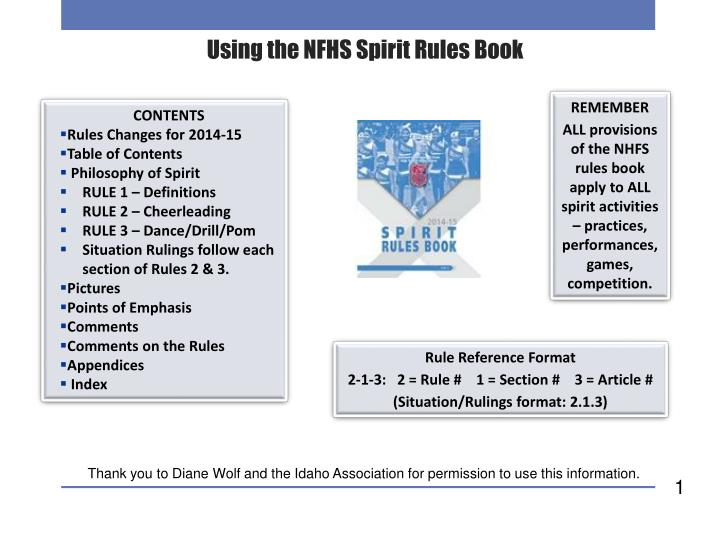 Using the nfhs spirit rules book