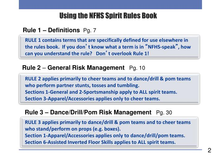 Using the nfhs spirit rules book1