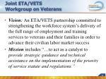joint eta vets workgroup on veterans