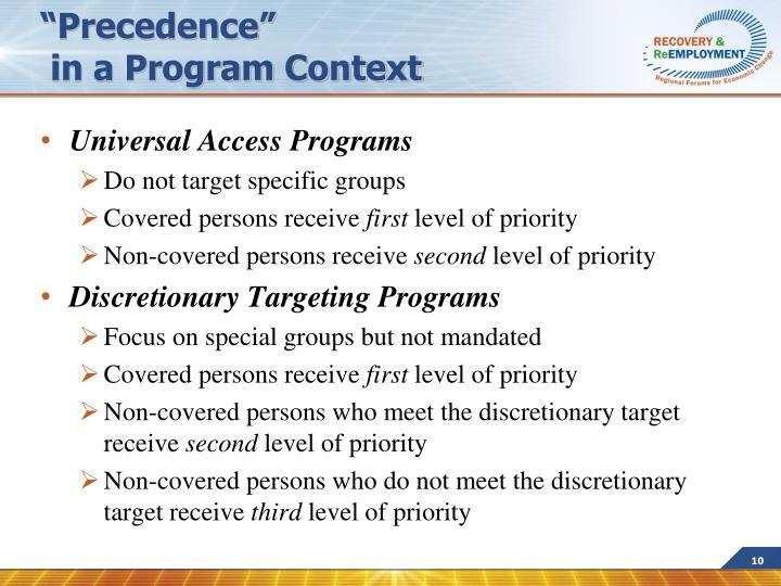 """Precedence"""
