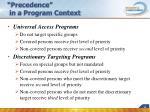 precedence in a program context